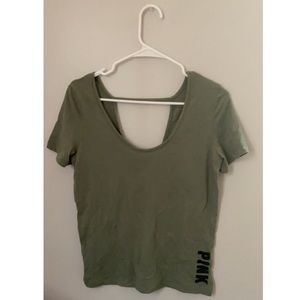 Green shirt from pink